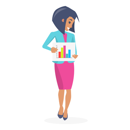 Beautiful businesswoman poster vector illustration of cute girl in bright pink dress and blue jacket holding infographic by hands isolated on white