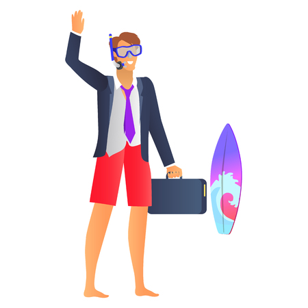 Smiling man in blue diving mask and black jacket, vector illustration of man in red shorts, black diplomat, colorful surfboard, bright background