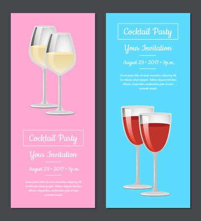 Cocktail party your invitation posters set red and white wine in glasses, mentioned date and time of visit, champagne in glassware on long stem vector Illusztráció