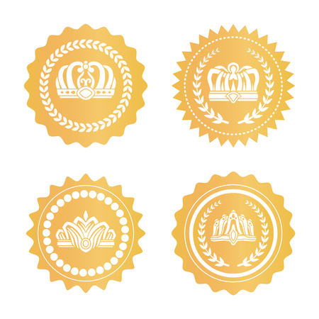 Gold certificates with royal crowns silhouettes set. Luxurious kings hats on golden seals. Heraldic symbols on round certificates vector illustrations Illustration