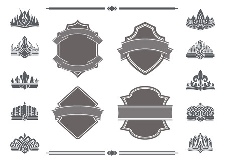 Shields with Blank Ribbons for Signs and Crowns Illustration