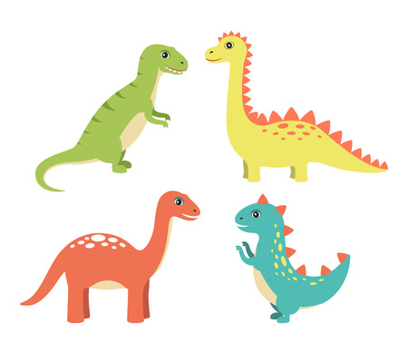 Dino collection types set, dinosaurs with long necks and spikes on back, diplodocus and sauropods vector illustration isolated on white background