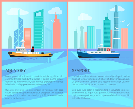 Aquatory and seaport advertisement posters set with sailing boats in blue water on background of industrial city skyscrapers vector yachts in port