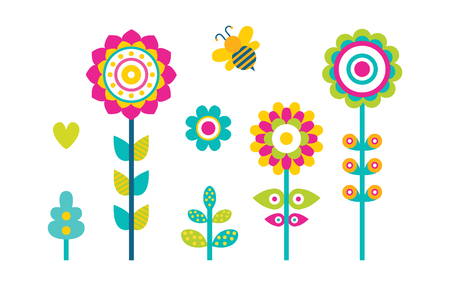 Abstract spring flowers blooming buds made of simple shapes, flying bee and grass elements, hearts and abstract blooms vector illustrations set isolated Imagens - 105604113