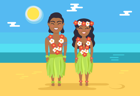 Jamaican couple in national costumes on beach. Man and woman with flower beads on sandy beach. People on ocean coast cartoon vector illustration