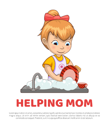 Poster and text sample lettering, girl helping mom with chores and duties around house vector illustration isolated on white background