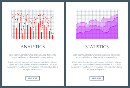 Analytics and statistics representation set. Wavy line with curves and vertical bars that shows analytical and statistical data vector illustrations