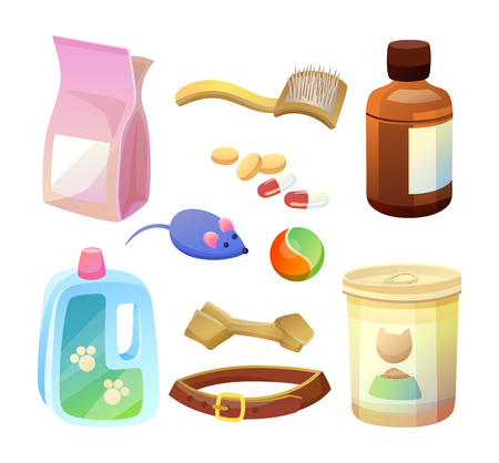 Special dry food and products to take care of pets set. Toys for cats and dogs. Brush and shampoo for animals. Pet shop products vector illustrations Illusztráció