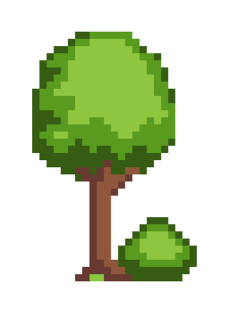 Tree and bush pixel style vector illustration isolated on white background. Green plants for 2D game decor, vector with greenery elements