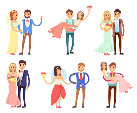 Happy newlywed couples composed of women in wedding gowns and veils who hold bouquets, and men in stylish suits cartoon vector illustrations set