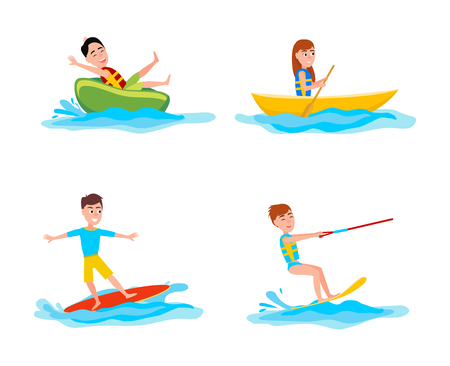 Summer collection of sports and activities, boating and surfing, kitesurfing summertime set, vector illustration isolated on white background Stock Illustratie