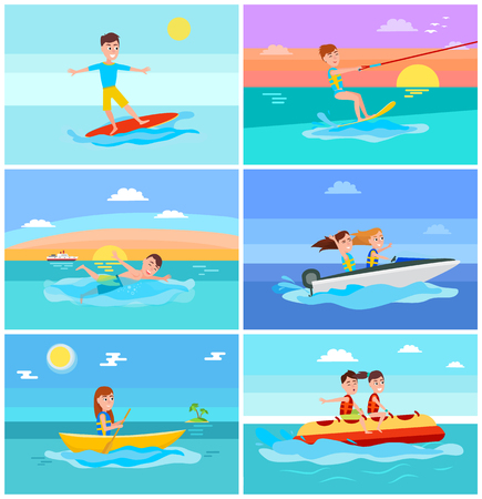 Summertime activities set with seascape, surfer and kitesurfing, swimming and boating, banana boat in summer isolated on vector illustration