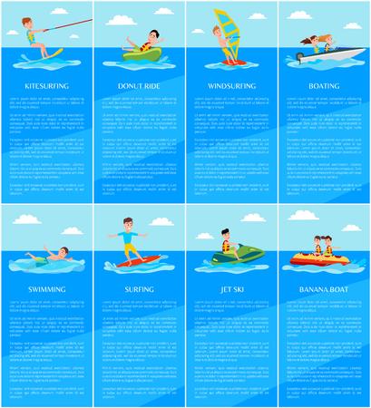 Schwimmen und Bootfahren, Jetski und Bananenboot, Kitesurfen und Windsurfen, Wassersport-Posterset, Vektorillustration, Surfen, aktive Erholung