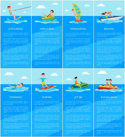 Swimming and boating, jet ski and banana boat, kitesurfing and windsurfing, water sport posters set, vector illustration, surfing, active rest Stock Illustratie