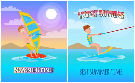 Lovely summer, best time color vector illustration, sunny day, water splashing, kitesurfing and windsurfing sport, athletic men, summertime active Illustration