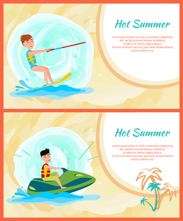 Hot summer time banner, color vector illustration, man on surf board, green watercraft palm trees, kitesurfing abstract waves, isolated text sample