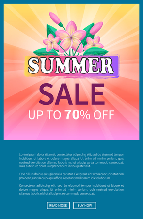 Summer sale up to 70 off advertisement web online poster design with exotic gentle pink flowers and green leaves, summertime total deal advert vector