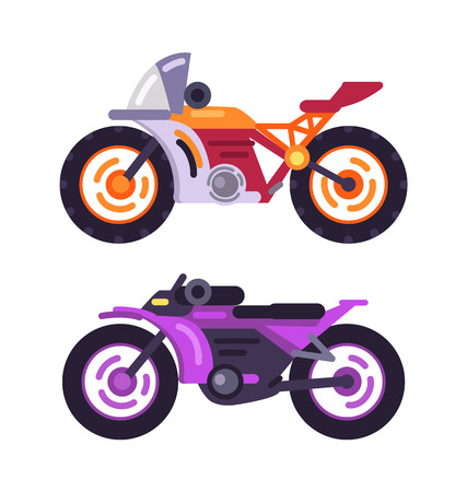 Motorbikes concepts isolated on white background vector illustration of powerful bikes in lilac and orange colors, vehicles on two wheels choppers set