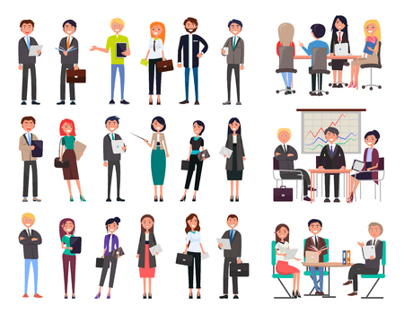 Business people collection wearing formal suits and dresses, meeting seminars, workshops planning of new projects set isolated on vector illustration Stock Illustratie