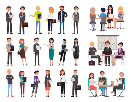 Colección de gente de negocios con trajes y vestidos formales, seminarios de reuniones, planificación de talleres de nuevos proyectos aislados en ilustración vectorial