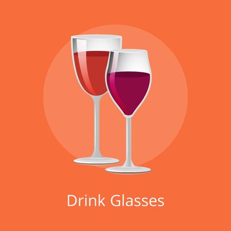 Drink glasses of elite red wine classical alcohol in elegant glassware vector isolated stemware, winery refreshing merlot burgundy beverage on orange