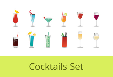 Tasty summer cocktails and alcohol beverages set. Exquisite wine, sweet drinks with straws or small umbrella in glasses isolated vector illustrations. Иллюстрация