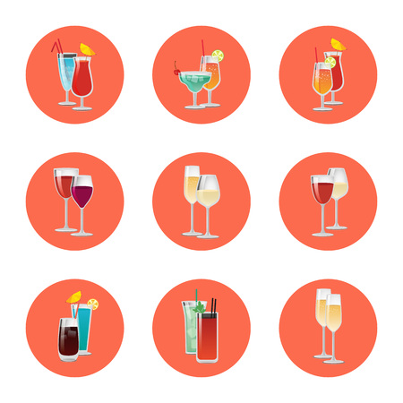 Pair of cocktails in round circles, elite classical and exotic drinks decorated by citrus fruits, umbrella and straw, vector wine and champagne isolated Illustration