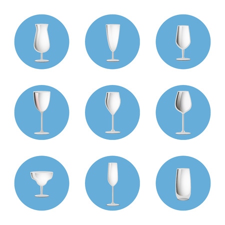 Set of empty glasses in round circles icons, elegant glassware items for cocktails and classical drinks, stemware collection vector isolated on white