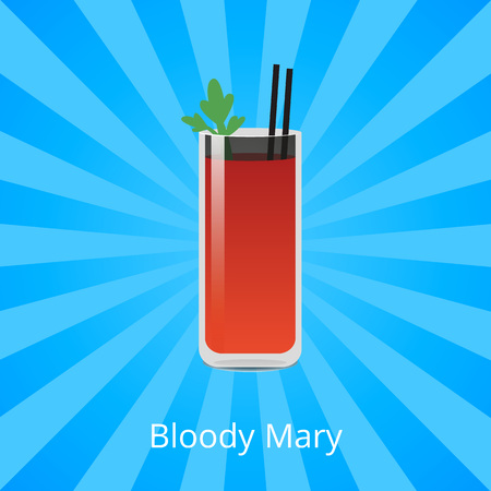 Bloody Mary cocktail containing vodka, tomato juice, and combinations of other spices and flavorings including parsley leaf vector illustration on blue