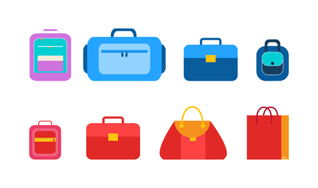 Convenient bags and packages for students set. Female handbags, practical briefcases, compact backpack, bright lunchbox isolated vector illustrations. Illustration