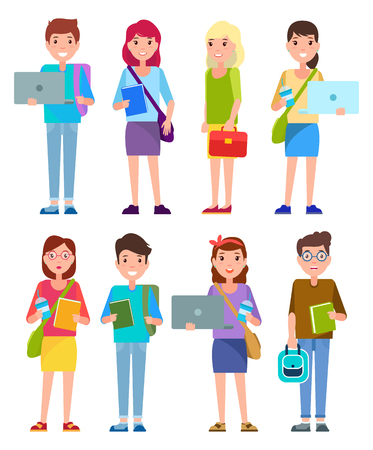 Student teenagers collection, boy holding laptop and smiling, girl with book, smiling young lady standing calmly, gentleman set vector illustration Illustration