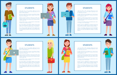 Students first year freshman former pupils boys and girls on posters with frame for text, male and female teenagers set vector illustration characters Ilustração