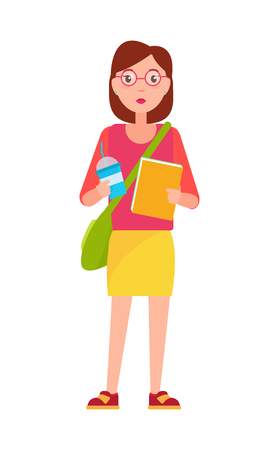 Stylish school girl student with handbag over shoulder, blue cup of coffee and textbook vector illustration cartoon female character in glasses isolated Vetores