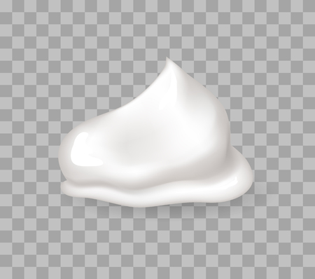 Fresh whipped cream sweet creamy bases for bakery products decoration vector illustration isolated on transparent, tasty foam, healthy yogurt realistic
