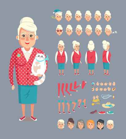 Granny constructor collection with icons of heads with expressions, accessories hat, blue necklace, haircut styles set isolated on vector illustration Illustration
