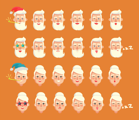 Grandparents emotion collection, male head wearing Santa Claus red hat, woman sleeping and snoring, emoticons set isolated on vector illustration Illustration