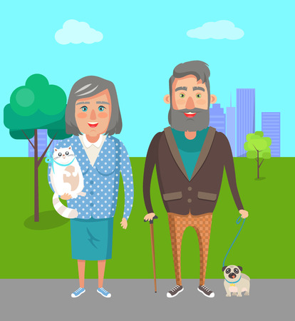 Grandparents with favourite pets, grandmother holds pussy cat and man with cute puppy on leash vector illustration of people on retirement in park