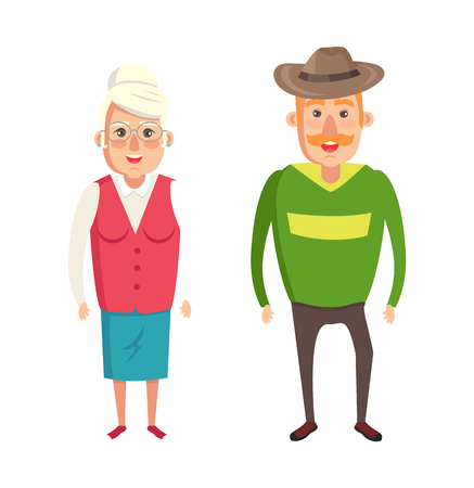 Grandmother and grandfather couple, elderly people in formal wear isolated on white background, grandparents cartoon characters, grandma and grandpa
