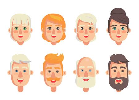 Menschlicher Konstrukteurkopf mit verschiedenen Frisurenvektorillustration von Männern und Frauen, verschiedene Haarfarbe, männlich mit Bart und Schnurrbart isoliert