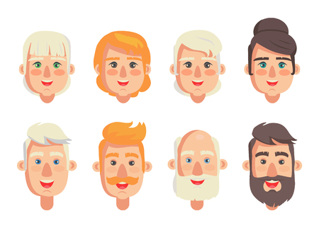 Human constructor head with different hairstyles vector illustration of men and women, various color of hair, male with beard and moustache isolated Illustration