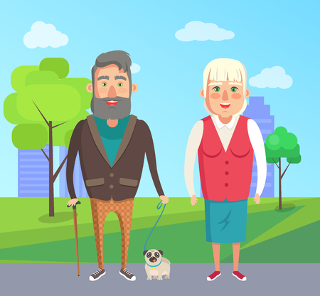 Grandfather and grandmother walking with dog in city park on background of skyscrapers. Bearded old man with stick, woman on retirement vector grandparents Banque d'images - 105604157