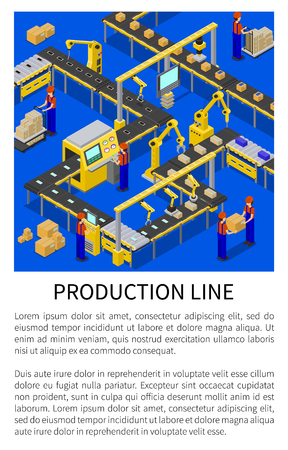 Production line abstract scheme of modern factory, colorful vector illustration of special mechanical robots making and packing smartphones gadgets 일러스트