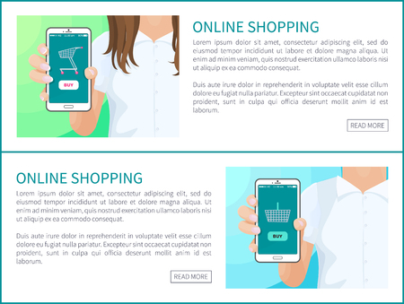 Online shopping web pages collection and text sample, female male holding phones showing application of internet store distributor vector illustration