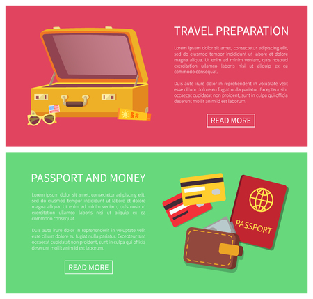 Travel Preparation Web Pages Vector Illustration