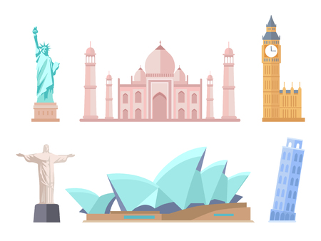 World Famous Sights of Modern and Old Styles Set Illustration