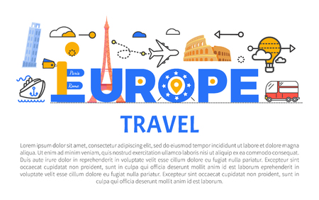 Europe travel promotional banner with sample text. Journeys around world commercial poster that has famous sights on it cartoon vector illustration.  イラスト・ベクター素材