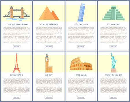 London Bridge, old Egypt Pyramids, Eiffel and Pisa towers, ancient Maya temple, huge Big Ben, Colosseum ruins, Liberty statue vector illustrations.