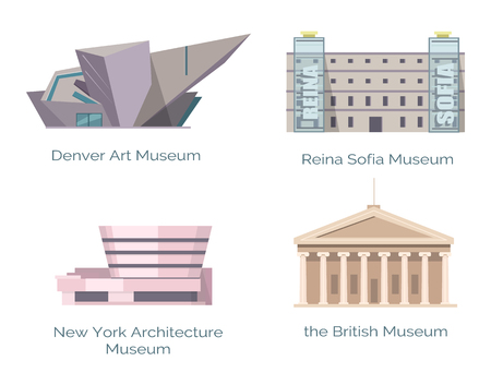 Museo de Arquitectura de Nueva York, Arte británico de Denver Ilustración de vector