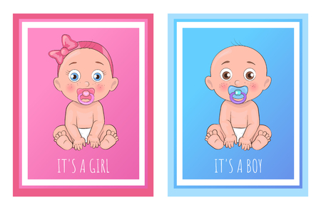 Its a boy and girl posters set newborn toddlers with pacifier in mouth and dressed in diapers vector illustration of bold infants isolated in frame