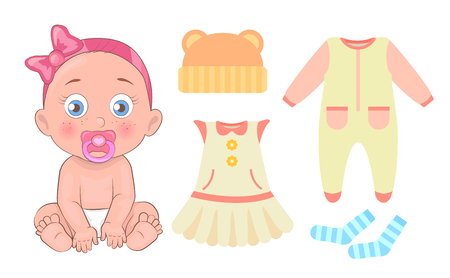 Girl with comforter in mouth wearing diaper, collection of clothes items, dress and jumper, eared hat blue socks set isolated on vector illustration